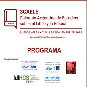 III Coloquio Argentino de Estudios sobre el Libro y la Edición (Buenos Aires. 7-9 noviembre 2018)